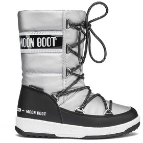 Moon Boot Quilted WP Botas de Invierno Niñas, Plateado/negro